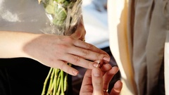 Woman said yes for a mans proposal to become his wife, a very romantic moment in Stock Footage