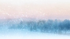 Snow flurries blowing across an beautiful scandinavian winter scene. Stock Footage