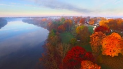 Scenic riverside with Autumn fog, Wrightstown Wisconsin Stock Footage