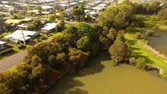 4K Aerial Toowoomba Water Bird Habitat B With Houses Stock Footage