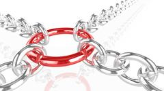 Chains pulling on a red metal ring Piirros