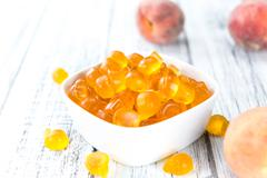 Heap of gummy Peaches Stock Photos