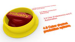 Rotary switch in red and yellow with the word Industry Stock Illustration