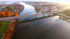 Scenic riverside small town with foggy Autumn sunrise, Wrightstown, Wisconsin Stock Footage
