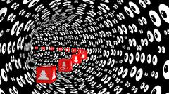 Red cubes with information security threat icons tunnel Stock Illustration