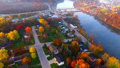 Scenic riverside small town with Autumn colors, Wrightstown, Wisconsin Stock Footage