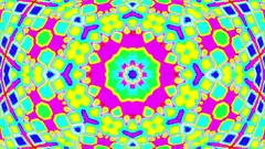 Fast Hypnotic Complex Psychedelic Retro Kaleidoscope Motion Background Loop. Stock Footage