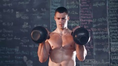 Weightlifter in gym Stock Footage