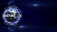 MARKETING Text Animation and Earth, with Keywords Background, Loop, 4k Stock Footage
