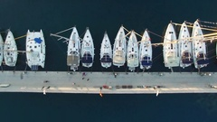 Yachts moored to pier, view from above with a quadcopter. Stock Footage