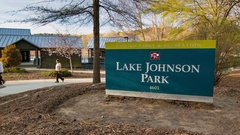 Lake Johnson Park Signage in Raleigh NC Stock Footage