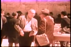Hissidic Jews at Western Wall (Vintage 1950's) Stock Footage