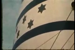 Israel Flag Ship Funnel 2 (Vintage 1950's) Stock Footage