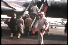 Boarding Israel Colored Plane (Vintage 1950's) Stock Footage