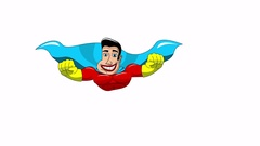 Front view of cartoon superhero flying isolated animation Stock Footage