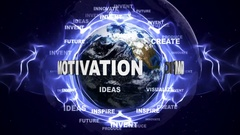 MOTIVATION Text Animation and Earth with Keywords, Loop, 4k Stock Footage