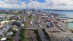 Drone Auckland City Skyline. Stock Footage