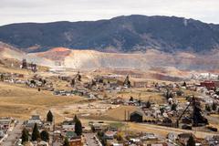 Mining Activities Equipment Houses Walkerville Butte Montana USA Stock Photos