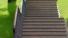 Stone steps in park. Granite stairs. Closeup of staircase. Park steps Stock Footage