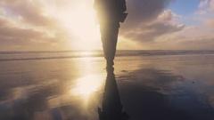 Sunset at Muriwai beach. Stock Footage