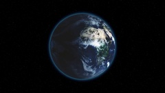 Realistic Earth Rotating on black space background with stars Loop . Globe is Stock Footage