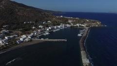 Yacht marina in Nisiros island. Aerial view. Stock Footage