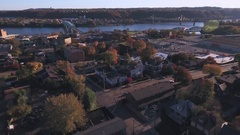 Slowly Reverse Aerial of Small Western Pennsylvania Town Stock Footage