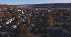Slowly Moving Forward Aerial of Typical Western Pennsylvania Small Town   Stock Footage