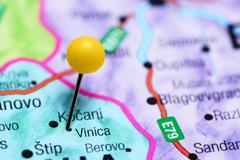 Vinica pinned on a map of Macedonia Stock Photos