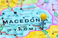Gevgelija pinned on a map of Macedonia Stock Photos