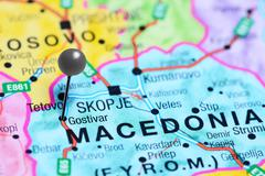 Gostivar pinned on a map of Macedonia Stock Photos