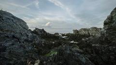 Tides: Atlantic, Rocky Coast at Sunset Stock Footage