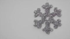 Silver Snowflake, White Background Stock Footage