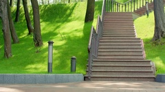 Fitness man running down stairs in slow motion. Healthy lifestyle concept Stock Footage