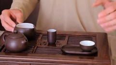 Traditional Chinese tea ceremony. Show on the brewing of green  tea. Stock Footage
