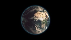 Realistic Earth Rotating on black background Loop . Globe is centered in frame Stock Footage