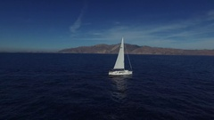 Sailboat in the sea. Aerial view. Stock Footage