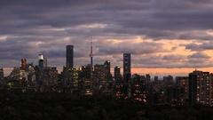 Toronto Skyline At Dusk Time Lapse Stock Footage