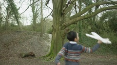 4K Happy father & son playing in the woods, little boy with model airplane Stock Footage
