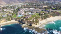 Flying out to Sea from Beautiful Laguna Beach, California Stock Footage