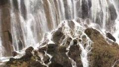 Grand  Great waterfalls at Jiuzhaigou National Park  Stock Footage