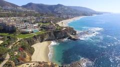 Flying South along Laguna Beach, California Stock Footage