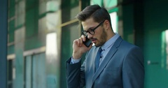 Business Man Receives Serious Information Through The Mobile Phone Stock Footage