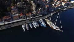 Several yachts moored at the quay. Aerial view. Stock Footage