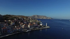 The promenade of a small town on a beautiful island. Aerial view. Stock Footage
