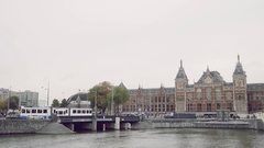 Amsterdam, the Netherlands. View of Holland railway station Stock Footage