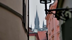 Prague street, building castle Stock Footage