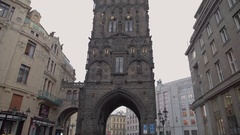 Prague Powder Tower Stock Footage
