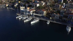 A few sailboats are berthed. Aerial view. Stock Footage