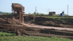 Gold mining. Dredge separator on river Stock Footage